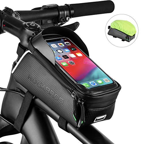 ROCKBROS Bike Phone Bag Bicycle Front Frame Bag Waterproof Top Tube Cycling Bags Phone Case with Touch Screen Bicycle Bike Accessories Compatible with iPhone Xs Max 8 Plus, Samsung S10, Huawei P30