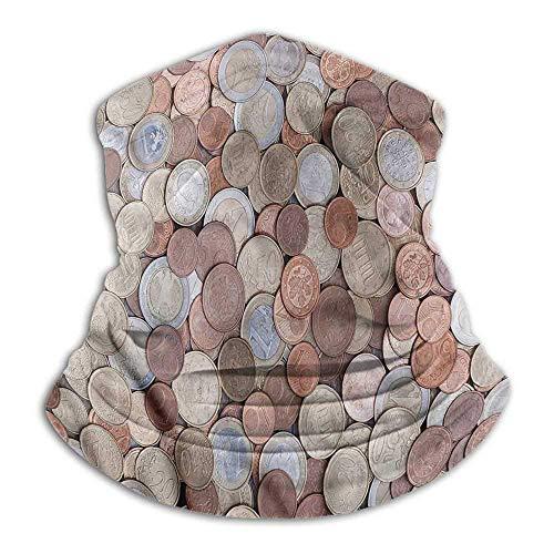 Calentador de Cuello Dinero Personalidad Creativa Bufanda Personalizada Euros y Monedas de un centavo