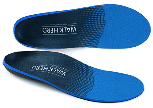 WALKHERO COMFORT AND SUPPORT lantar Fasciitis Feet Insoles Arch Supports Orthotics Inserts Relieve Flat Feet, High Arch, Foot Pain Mens 6-6 1/2 | Womens 8-8 1/2 - Free Return Blue