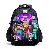 Mochilas Minecrafted Mochilas Escolares Impermeables para niños Mochilas Escolares de Dibujos Animados para niños con Cremallera Regalos para niños-11