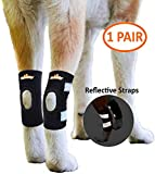 NeoAlly Dog Ankle Braces Canine Rear Leg Brace [Short Version] for Short Leg Dogs with Safety Reflective Straps for Hind Leg Wounds Heal and Injuries and Sprains from Arthritis (Pair)