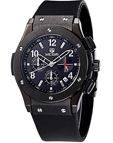 Megir Herren Sport Silikon Militär Chronograph Quarzuhr mit schwarzem Zifferblatt