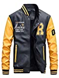 Vogstyle Uomo/Signori/Ragazzi PU Pelle College Baseball Jacket Felpa Motociclista Giacca Giubbotto Giallo L