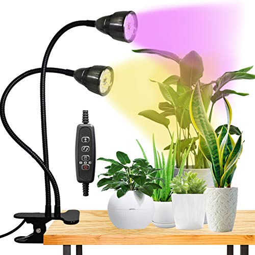 LED Grow Light for Indoor Plant,360° Gooseneck Dual Head Clip-on Plant Lights for Seedlings Succulents Micro-Greens,Timer Function (3 Modes & 10-Level Brightness)