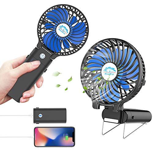 HandFan Handventilator Mini Tragbarer elektrischer persönlicher Lüfter für Faltbarer Desktop-USB-Akku-Lüfter mit 5200 mAh Energienbankfunktion Büro/Heim/Outdoor/Camping/Kinderwagen