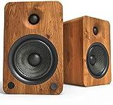 Kanto YU6 Powered Bookshelf Speakers with Bluetooth and Phono Preamp, Walnut