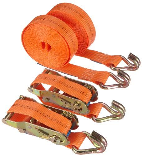 Braun Spanngurt 2000 daN, zweiteilig, für Profis und Privattransport, nach DIN EN 12195-2, Farbe orange, 6 m Länge, 35mm Bandreite mit Ratsche und 2-strang Spitzhaken, 2er Set.