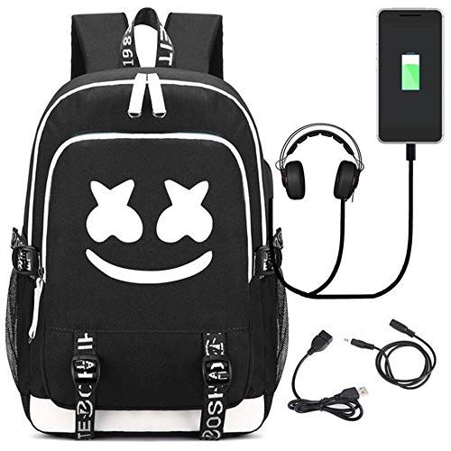 Mochila Luminosa USAMYNA para Adolescentes Mochila Escolar Marshmello 36L-55L Mochila USB Externa y Soporte para Auriculares Bolsa De Viaje para Computadora Portátil (Smiley)