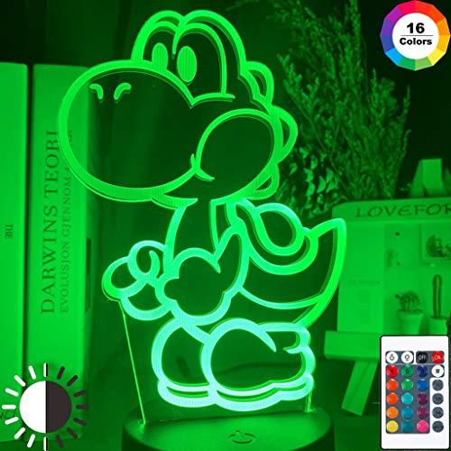 Gioco Super Mario Yoshi Figure Cool Night Light Lampada da tavolo a LED 3D per bambini regalo di...
