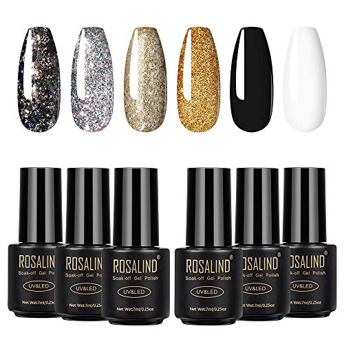ROSALIND Gel Nail Polish Set Black White Gold Glitter 6 Colors Manicure Beauty Semi Permanent Varnish UV LED Lamp Nail Art Design 7ml