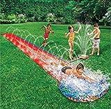 Tapis de Glisse Toboggan Eau Piscine avec Jet d'eau
