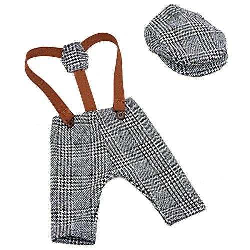 YeahiBaby Newborn Baby Photography Props Cute Plaid Suspender...