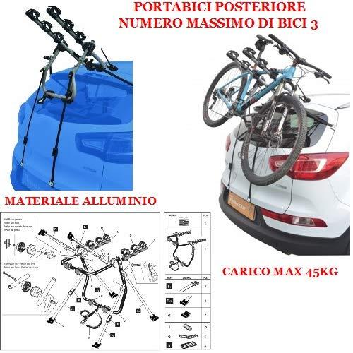COMPATIBILE CON Kia Rio 5p (99-05) PORTABICI POSTERIORE PER AUTO IN ALLUMINIO PER 3 BICI PORTA...