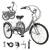 Sehrgo Tricycle pour Adultes, vélo de 24 Pouces avec vélos de Ville 7...