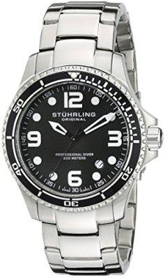 Stuhrling Original Men's 593.332D11 Aquadiver Grand Regatta Swiss Quartz Diver Date Black Watch