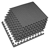 Velotas 1/2 Inch Interlocking EVA Foam Personal Fitness Mat, Diamond Plate Exercise Mats for Indoor Workout, 24 in x 24 in