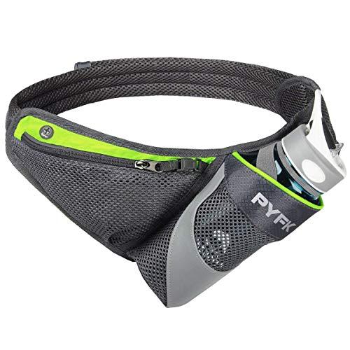 PYFK Running Belt Hydration Waist Pack with Water Bottle Holder for Men Women Waist Pouch Fanny Bag Reflective (Green)