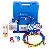 VIVOHOME 110V 1/4 HP 3.5 CFM Single Stage Rotary Vane Air Vacuum Pump and R134a AC Manifold Gauge Set Kit for HVAC Air Conditioning Refrigeration Recharging ETL Listed
