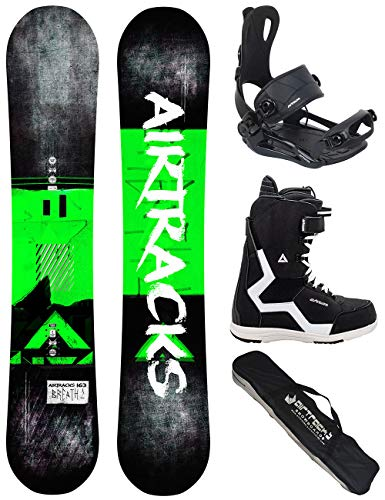 Airtracks 152 156 159 - Tavola da snowboard Breath Wide Flat Rocker + attacchi per snowboard Master...