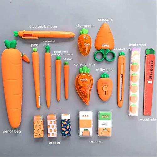 Borsa Organizzatore Portapenne Astuccio In Silicone Morbido Serie Carote Set Cancelleria Kawaii Regalo Di Compleanno Per Bambini Set di serie di carote C