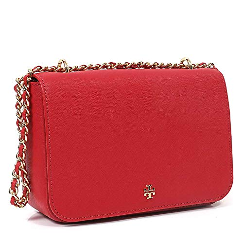 51qWpnLEGHL Tory Burch Emerson Adjustable Shoulder Bag Beautiful Large Shoulder Bag with flap top, double handles with chain and leather detail that becomes crossbody strap 1 large secure zipped compartment and 1 slip pocket. Snap closure