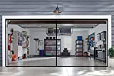 Garage Door Screens - 2 Car Door 16x7 ft - Bottom of The Screen is Weighted - Self Sealing Fiberglass Mesh Magnetic Closure for Quick Entry-Easy to Install. (16X7FT, Black)