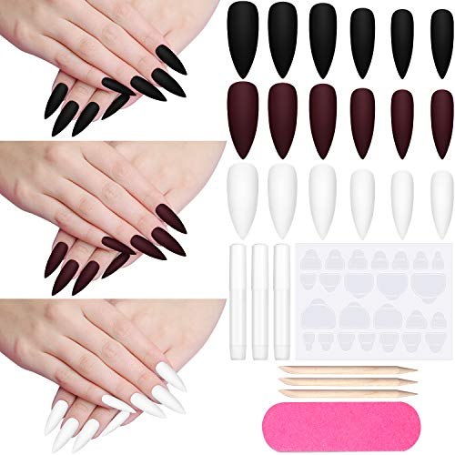 72 Pieces Christmas Stiletto False Nail Winter Colorful Matte Fake Nail Full Cover Press on Nail Tip Extra Long Frosted Acrylic Nail with Glue, Adhesive Tab, File, Wooden Stick, White, Black, Wine Red