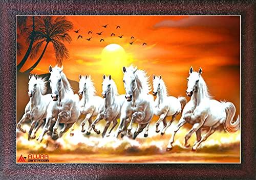 Alura Art N Frames Sunrise 7 Running HorsesSynthetic Animals Artwork, Multicolour, Vastu,Framed Painting(10.5 inch X 14 inch) SANF SH 173
