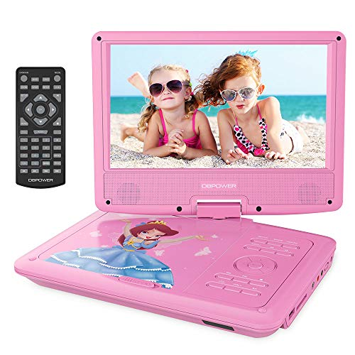 DBPOWER 11.2' Portable Kids DVD Player with Built-in Rechargeable Battery, 9' Swivel Screen, SD Card Slot and USB Port,1.8M Car Charger and 1.8M Power Adaptor (Pink)