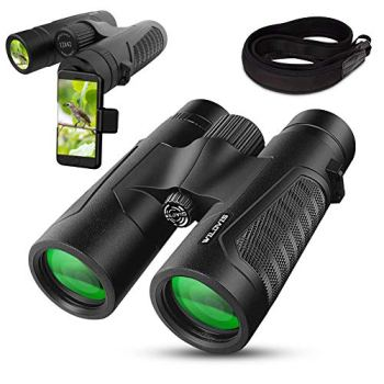 WildVis 12x42 Binoculars for Adults Compact Binocular Prism BAK4 FMC Lens Waterproof HD Binoculars for Bird Watching Hunting with Carrying Bag