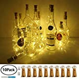 LoveNite Wine Bottle Lights with Cork, 10 Pack Battery Operated LED Cork Shape Silver Wire Colorful Fairy Mini String Lights for DIY, Party, Decor, Christmas, Halloween,Wedding(Warm White)