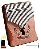 [island-banana] カリンバ 21キー Kalimba 親指ピアノ 21音 アフリカ楽器 天然木 アカシア ナチュラル 簡単 日本語説明書 チューニングハンマー 収納袋付き (ブラウン)