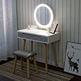 YOURLITE Vanity Table Set with 3 Modes Adjustable Brightness Mirror and Cushioned Stool, Dressing Table Vanity Makeup Table with Free Make-up Organizer