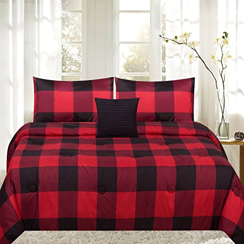 Sweet Home Collection 4 Piece Buffalo Print Reversible Comforter Set, Full/Queen