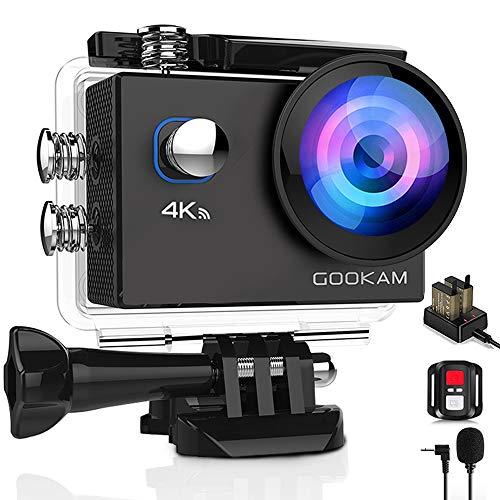 GOOKAM 4K Action Cam 20MP WiFi Telecomando Fotocamera Subacquea Impermeabile 40M Sott'Acqua Sports Camera Schermo 2 Pollici 170 Gradi Grandangolare Microfono Esterno 2x1050mAh batterie e Accessori