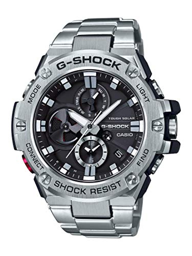 Casio Men's G-Steel by G-Shock Quartz Solar Bluetooth Connected Watch with Stainless-Steel Strap, Silver, (Model: GST-B100D-1ACR)