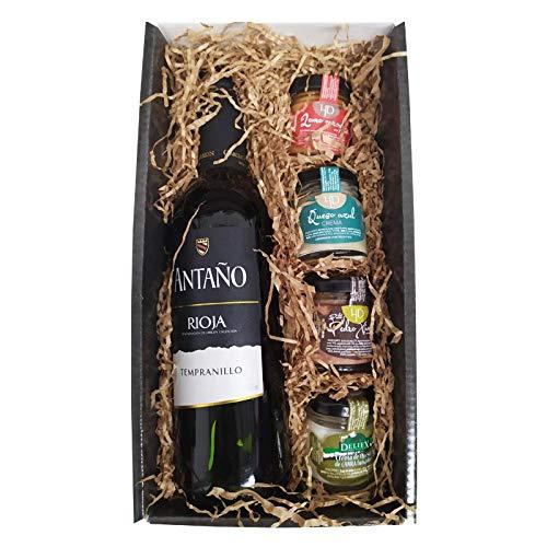 Cesta Gourmet Deliex con Vino Rioja Antaño de 37,5 cl mediana, 2 patés de Lomo Ibérico 30 g y Paté al Pedro Ximénez 30 g, 2 Cremas de Queso de Cabra y oveja Deliex caja pequeña..