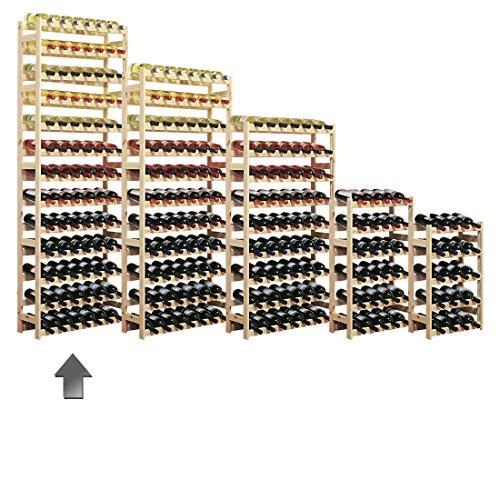 Cantinetta / scaffale per vino SIMPLEX modello 5, per 91 bottiglie, legno naturale - A 198 x L 72 x...