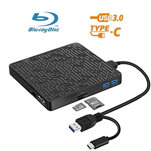 5 in 1 External Bluray DVD Drive, USB3.0/Type-C Blu Ray Drive Player Slim Optical CD DVD Drive Burner with SD/TF Card Reader/2 USB3.0 Hubs for Windows XP/7/8/10, MacOS, LinuxMacBook, Laptop, Desktop