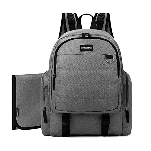 mommore Large Capacity Diaper Backpack Baby Nappy Bags with Changing Pad, Grey
