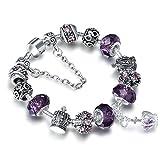 A TE Bracelet Charms Femme 'Rempli d'Amour' Verre Violet Cadeau #JW-B70