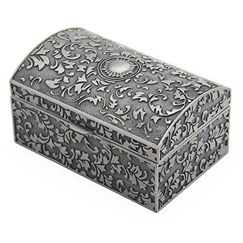 Vintage Metal Jewelry Box Small Trinket Storage Organizer...