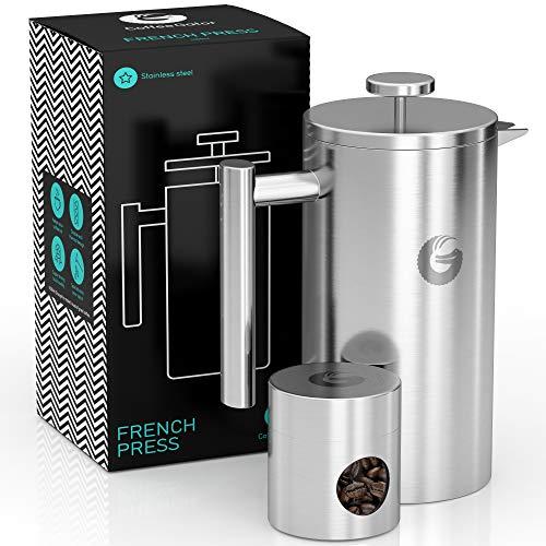 Coffee Gator-French-Press-Kaffeebereiter – Heißer-für-Länger-Thermobrüher – Plus Reiseglas – Große Kapazität, doppelwandig isoliert, spülmaschinengeeigneter Edelstahl – 1 Liter – Silber