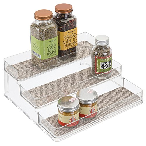 iDesign Twillo Plastic Stadium Spice Rack, 3-Tier Organizer for Kitchen Pantry, Cabinet, Countertops, Vanity,...