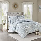 Madison Park Isla Cotton Duvet-Casual Medallion Floral to Damask Print Reverse All Season Comforter Cover Bedding Set with Matching Shams, King/Cal King(104'x92'), Blue 3 Piece