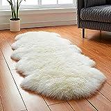 Genuine Sheepskin Rug 2.2'x6.2' Fur Rug Nursery Rug Throw Rugs Luxuxry Fuzzy Fur Carpet for Bedroom Fluffy Rug for Living Room (Double Pelt, Natural)