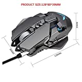 Xindda Wired Mouse, ZERODATE X300GY USB Wired 4000dpi 7Buttons Optical Gaming Mouse LED Backlight