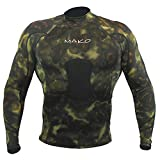 Wetsuit Shirt Spearfishing Green Camouflage Lycra Long Sleeve - 1.5mm (Small)