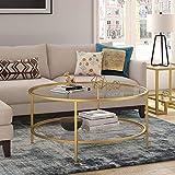 Henn&Hart Round coffee table, Gold, 17' H x 36' L x 36' W