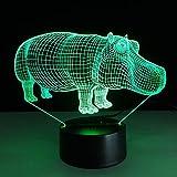 Novedad Lámpara de mesa Regalo de Halloween 3D LED Lámpara de hipopótamo Color táctil LED 3D Ambiente de luz Regalo Luz de noche LED